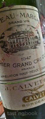 Red wine, Château Margaux 1947