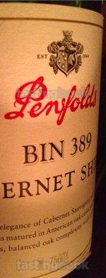 Red wine, Bin 389 Cabernet Shiraz 1998