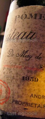 Red wine, Chateau Certan de May 1959