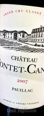 Red wine, Château Pontet Canet 2007