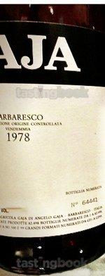 Red wine, Barbaresco 1978