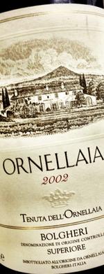Red wine, Ornellaia 2002