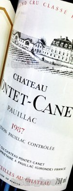 Red wine, Château Pontet Canet 1987