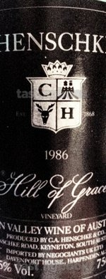 Red wine, Hill of Grace 1986