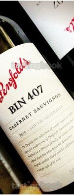 Red wine, Bin 407 Cabernet Sauvignon 2010